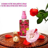 COMBO CẶP ĐÔI Nước hoa hồng Bulgaria thương hiệu Lema 250ml dạng xịt và nước hoa tinh dầu hoa hồng 2.1ml