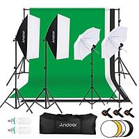 Andoer Photography Kit 1.8*2.7m Black White Green Cotton Backdrop 3pcs Fish-like Mount Clip 1pc 60cm 5in1 Photography