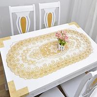 Khăn trải bàn kích thước 40x85cm, họa tiết ren hoa cao cấp