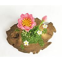 Hoa đất sét mini kết hợp gỗ - Sen truyền thống