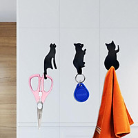 3 Pcs Cute Cats Wall Mounted Simple Design Metal Hat Key Hanging Clothes Coat Rack Hooks Home Decoration
