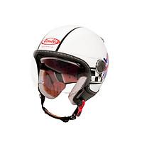 Mũ Bảo Hiểm Andes 3/4 Đầu Có Kính - Luxury 210C Tem Bóng DD28 - Trắng Phối Đen