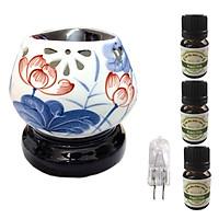 Đèn xông tinh dầu tam giác hoa sen xanh lam và 3 tinh dầu bạc hà Eco 10ml và 1 bóng đèn
