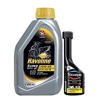 Bộ dầu nhớt xe tay ga Caltex Havoline SuperMatic 4T SAE 10W-40 800ml + dung môi pha xăng