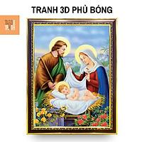 Tranh 3D Công Giáo Treo Tường - Gia Đình Thánh Gia CG004, 35x47cm - Khung Composite Cổ Điển, Pha lê, Tráng gương