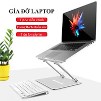 Giá Đỡ Laptop Macbook Để Bàn Chất Liệu Hợp Kim Nhôm Cao Cấp Tản Nhiệt – Nâng Hạ Điều Chỉnh Độ Cao - Gấp Gọn Cho Kích Cỡ 10-18 Inches Hàng Chính Hãng