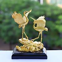Tượng đôi chim hạc phúc lộc mạ vàng