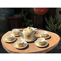 bộ trà bé vẽ hoa dây vàng