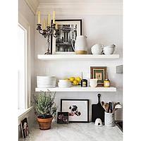 Kệ gỗ trang trí treo tường xuất khẩu ( Bộ 2 thanh ngang ) - White - Dài 90 cm x Sâu 19.55 x Cao 3 cm