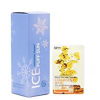 Xịt chống nắng Hàn Quốc pha lê tuyết mát lạnh cao cấp 3 in 1 Ice Puff Sun Mersenne Beaute SPF50+ PA+++ (100ml) + Tặng ngay Mặt nạ dưỡng da Hàn Quốc cao cấp Benew – Hàng Chính Hãng