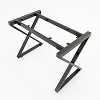Bộ chân sắt chữ X sơn tĩnh điện màu đen 1200x580x730mm lắp ráp