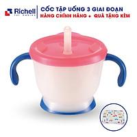 Cốc tập uống 3 giai đoạn Richell. Cốc tập uống Richell cho bé. Tặng kèm tấm lót chống thấm