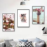 Khung tranh vải canvas hình hoa đẹp cỡ 30x45 ( tranh kèm khung y hình )