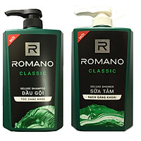 Combo Dầu gội Romano Classic 650ml + Sữa tắm Romano Classic 650ml +Tặng 5 gói dầu gội