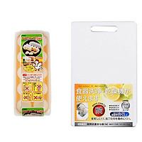 Combo Khay đựng trứng 10 ngăn có nắp đậy + Thớt nhựa kháng khuẩn độ dày 1,3cm nội địa Nhật Bản