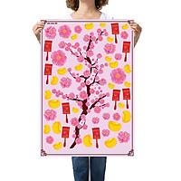 Sticker decal hình dán trang trí tết - Đào Khoe Sắc