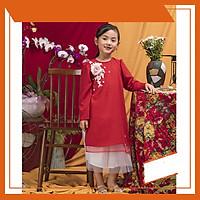 Set Áo dài cách tân bé gái màu đỏ đính hoa kèm váy