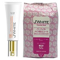 Combo 1 Hộp Kem B.B Trang Điểm Cao Cấp 5 In 1 Nhật Bản J'WHITE 50ml + 1 Hộp Khăn tẩy Trang Dưỡng Ẩm Cao Cấp, An Toàn Cho Da Nhật Bản J'WHITE Make- Up (185ml-52 miếng)