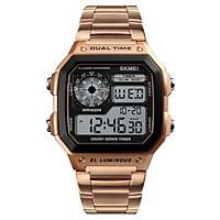SKMEI Men Square Digital Watch Date Week Stopwatch EL Light Waterproof Alarm Sports Wristwatch