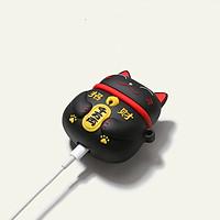 Vỏ bảo vệ bao đựng tai nghe case dành cho airpods 1, 2 chống va đập - Case mèo thần tài đen