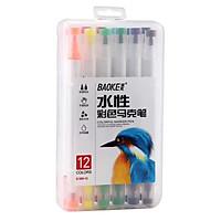 Brush Marker, Màu Marker, Viết thư pháp Calligraphy - Hộp bút lông màu hai đầu, Thân bút vừa tay , Màu tươi sáng Baoke D289