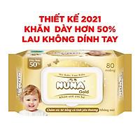 { Quà Tặng Thiết Kế Mới} -Khăn ướt em bé Nuna Gold Siêu Dày 60gsm 80 MIếng Không Mùi