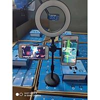 Giá Đỡ 2 Điện Thoại Có Đèn Led LiveStream, Kẹp Điện Thoại Để Bàn Quay Video Tiktok Có Đèn Led 3 Màu