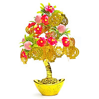 Cây Tài Lộc Thỏi Vàng Lá Vàng Hoa Trái Đào Hạt Châu25x36cm