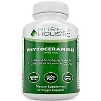 Phytoceramides Skin Therapy Supplement 60 Capsules 100% Money Back Guarantee Rice Based 100% Natural Vegetarian Capsules 100% DV of Vitamin A,C,D & E with No Fillers or Artificial Ingredients