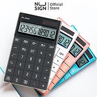 Máy tính để bàn cao cấp Nusign - 12 số hiển thị - Pin năng lượng mặt trời - Hồng/Xanh dương/Trắng/Xám đen - NS041