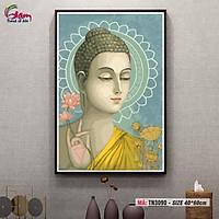 Tranh tô màu theo số Gam Tranh Phật giáo Đức Phật và hoa sen vàng TN3090
