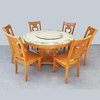 Bộ bàn ăn tròn mặt đá nhập khẩu 1M3 6 ghế Greenfurni