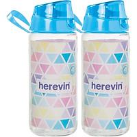Combo - 2 Bình Nước Thể Thao Thuỷ Tinh Herevin 500ml 111804