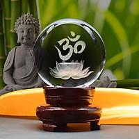 Quả Cầu Pha Lê Khắc Chữ Om Trên Hoa Sen 3D - Trang trí phòng khách/ phòng tập Yoga/ bàn làm việc