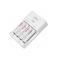 Box sạc kèm 4 pin AA Fujitsu HR-3UTC 1900mAh hàng nội địa box Nhật - made in JAPAN (trắng) Hàng Nhập Khẩu