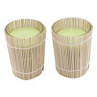 Bộ 2 Ly Nến Thơm Quấn Tre Quang Minh Candle Ftramart - Xanh Lá