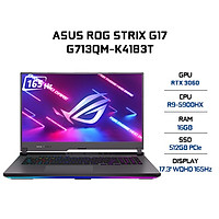 Laptop Asus ROG Strix G17 G713QM-K4183T (AMD R9-5900HX/ 16GB (2x8) DDR4 3200MHz/ 512GB SSD PCIE G3X4/ GTX 3060 6GB GDDR6/ 17.3 WQHD IPS, 165Hz, 3ms, FreeSync/ Win10) - Hàng Chính Hãng