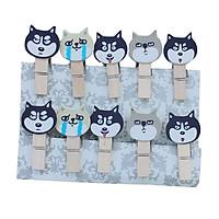 Set 10 Cái Kẹp Gỗ Sơn Design Pub hình Chó Husky (Tặng 1,5m dây cói)