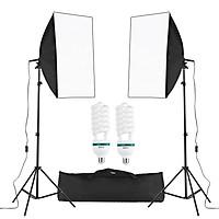 Professional Studio Photography Cube Umbrella Softbox Light Kit Including 50*70cm Softboxes/150W 5500K Light Bulbs/ 2