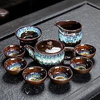 Bộ ấm chén pha trà men hỏa biến 9 món