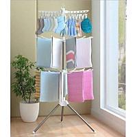 Giá phơi quần áo cho bé nhiều tầng gấp gọn - Tặng kèm 5 cái khăn sữa xô hình cho bé