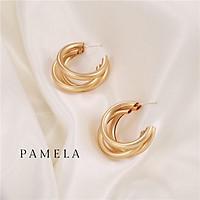 Khuyên tai nữ tròn bông tai nữ 03 lớp khuyên hoa tai nữ tròn cá tính Pamela phụ kiện trang sức