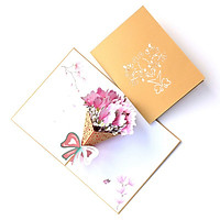 Pop Up Card 3D Flower Bouquet Mother's Day Thanksgiving Birthday Anniversary Gift Magnolia Floral Bow for Family Mom