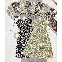 Váy suông nữ, đầm dáng dài 2 dây cúc họa mi
