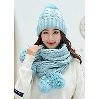 Bộ nón và khăn choàng cổ len Nữ - Tặng vòng tay thùy tinh pha lê - NL25A