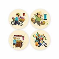 Bộ 4 Lót Ly Tròn - Street Vendors CC102