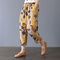 Quần boomber harem linen họa tiết, thời trang phong cách trẻ