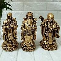 Bộ tượng Phúc Lộc Thọ đá poly màu đồng cao 18cm TDMD18