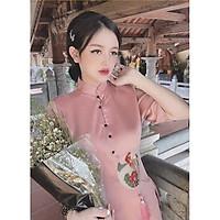 Bộ Đi Lễ Chùa - Đồ Lam Nữ Đẹp Cao Cấp Trang Nhã Vải Lụa Hoa Nổi 2021 Dành Cho Phật Tử AL001