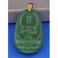 Mặt dây chuyền Phật Đại nhật như lai thạch anh xanh lá móc inox vàng - Hộ mệnh tuổi Mùi, Thân